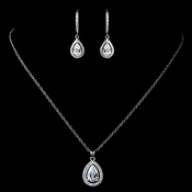 Antique Rhodium Silver Clear CZ Crystal Teardrop Pendent Necklace & Teardrop Leverback Dangle Earrings Jewelry Set 7740