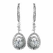Antique Rhodium Silver Clear CZ Crystal Vintage Drop Leverback Earrings 7797