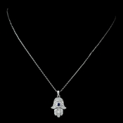 Antique Rhodium Silver Clear CZ Crystal With Sapphire Accent Middleaster Hamsa Pendent Necklace 7732