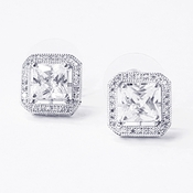 Antique Rhodium Silver Clear Cushion Cut CZ Crystal Stud Earrings 7403***Discontinued***