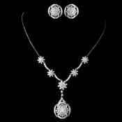 "Antique Rhodium Silver Clear CZ Flower Crystal ""Great Gatsby"" Inspired Necklace Drop Necklace & Stud Earrings Jewelry Set 7743"