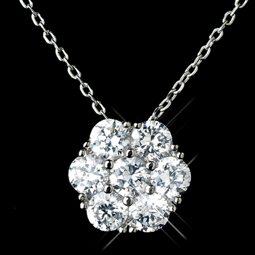 Antique Rhodium Silver Clear CZ Flower Encrusted Cluster Pendent Necklace & Cluster Flower Stud Earrings Jewelry Set 7742