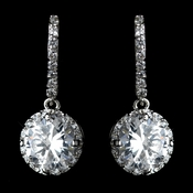 Antique Rhodium Silver Clear Encrusted Hook With CZ Crystal Solitaire Drop Earrings 7736