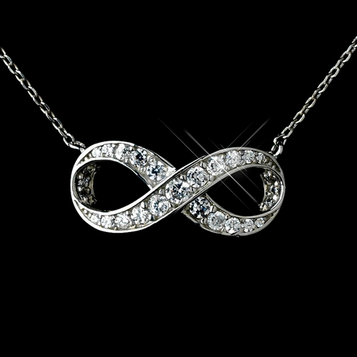 Antique Rhodium Silver Clear Eternity Infinity CZ Crystal Pendent Necklace 7730