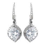 Antique Rhodium Silver Clear Leverback Earrings 7791