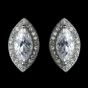 Antique Rhodium Silver Clear Marquise Encrusted Stud Earrings 7767 ***Only 1 Left***