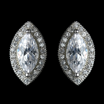 Antique Rhodium Silver Clear Marquise Encrusted Stud Earrings 7767