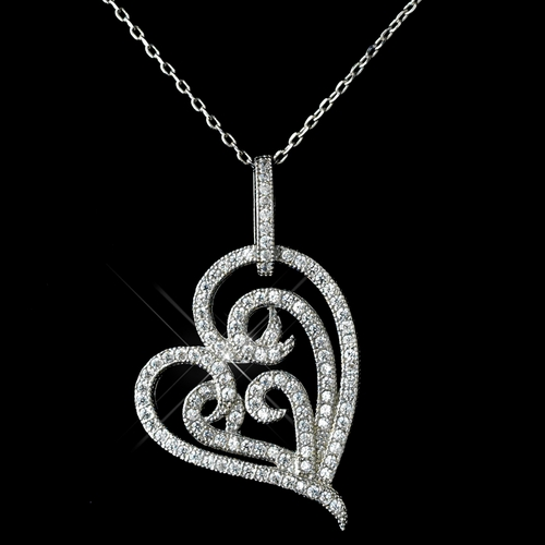 Antique Rhodium Silver Clear Micro Pave Encrusted Heart Pendent Necklace 7724