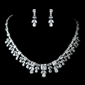 Antique Rhodium Silver Clear Necklace & Earrings Jewelry Set 7747