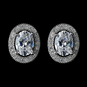 Antique Rhodium Silver Clear Oval CZ Crystal Pave Encrusted Stud Earrings 7738