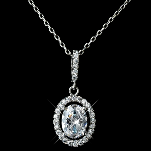 Antique Rhodium Silver Clear Oval Pendent Drop Necklace 7738