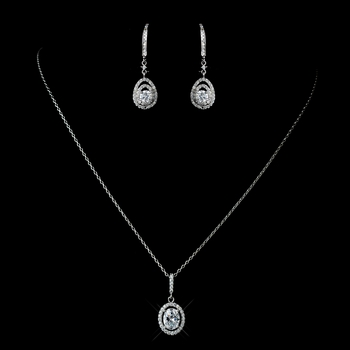 Antique Rhodium Silver Clear Oval Pendent Drop Necklace 7738 & Drop Leverback Dangle Earrings 7797 Jewelry Set