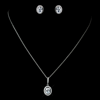 Antique Rhodium Silver Clear Oval Pendent Drop Necklace 7738 & Oval Pave Encrusted Stud Earrings 7739 Jewelry Set