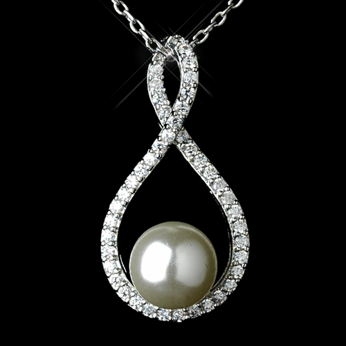 Antique Rhodium Silver Clear Pave CZ Crystal Eternity Pendent w/ Diamond White Pearl Necklace 7727