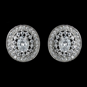 Antique Rhodium Silver Clear Pave CZ Crystal Vintage Stud Earrings 7796