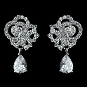 Antique Rhodium Silver Clear Pave Encrusted Tear Drop Earrings 7764