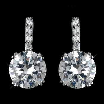 Antique Rhodium Silver Clear Pave With Solitaire Stud Drop Earrings 7408***Discontinued***