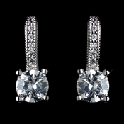 Antique Rhodium Silver Clear Petite CZ Crystal Children�s Earrings 7402