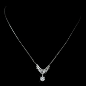 Antique Rhodium Silver Clear Petite CZ Crystal Necklace 7729