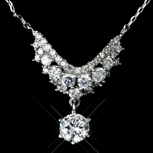 Antique Rhodium Silver Clear Petite CZ Crystal Necklace 7729 & Petite Round Pave Drop Earrings 7786 Jewelry Set
