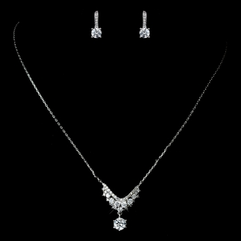 Antique Rhodium Silver Clear Petite CZ Crystal Necklace 7729 & Round Petite CZ Child's Earrings 7402 Jewelry Set