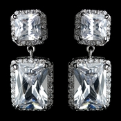 Antique Rhodium Silver Clear Princess Cut CZ Crystal Pave Drop Earrings 7780