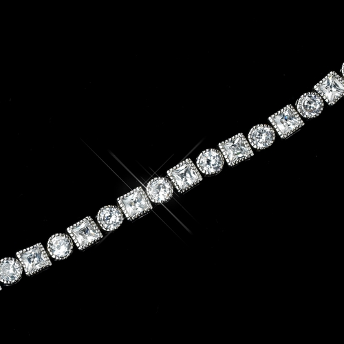 Antique Rhodium Silver Clear Princess & Round CZ Crystal Bracelet 7702