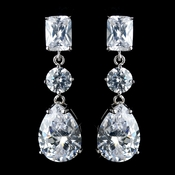 Antique Rhodium Silver Clear Princess, Solitaire & Teardrop CZ Crystal Earrings 7793