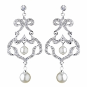 Antique Rhodium Silver Clear Rhinestone & Diamond White Pearl Chandelier Earrings 7863