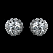 Antique Rhodium Silver Clear Round CZ Crystal Solitaire Stud Halo Earrings 7741