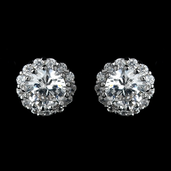 Antique Rhodium Silver Clear Round CZ Crystal Solitaire Stud Halo Earrings 7741***Discontinued***