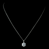 Antique Rhodium Silver Clear Round Pave CZ Crystal Drop Pendent Necklace 7720