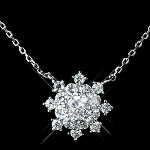 Antique Rhodium Silver Clear Snowflake Encrusted Pendent Necklace & Petite Snowflake Drop Earrings Jewelry Set 7737