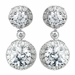 Antique Rhodium Silver Clear Solitaire Encrusted CZ Crystal Drop Earrings 7789