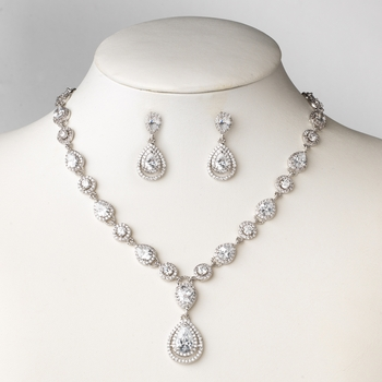 Antique Rhodium Silver Clear Teardrop CZ Crystal Bridal Wedding Jewelry Set 82072