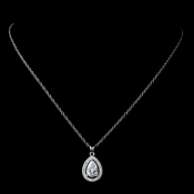 Antique Rhodium Silver Clear Teardrop Encrusted CZ Crystal Pendent Necklace 7740
