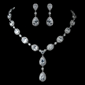 Antique Rhodium Silver Clear Teardrop & Oval CZ Crystal Necklace & Earrings Jewelry Set 7749
