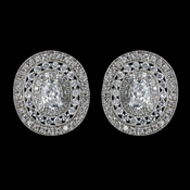 Antique Rhodium Silver Clear Vintage CZ Crystal Earrings 7795