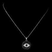 Antique Rhodium Silver Clear w/ Black Hamsa Evil Eye Hand Middle Eastern Arabic CZ Crystal Pendent Necklace 7722