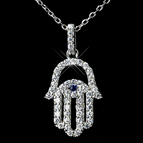 Antique Rhodium Silver Clear w/ Sapphire Center Hamsa Evil Eye Hand Middle Eastern Arabic CZ Crystal Pendent Necklace 7734