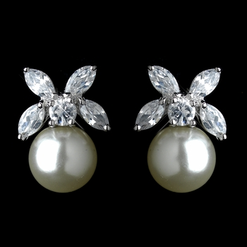 Antique Rhodium Silver CZ Clear Crystal & Diamond White Pearl Stud Earrings 7401