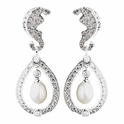 Antique Rhodium Silver Diamond White Freshwater Pearl Kate Middleton Inspired Earrings 8915
