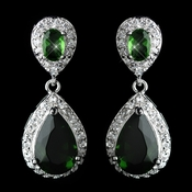 Antique Rhodium Silver Emerald Tear Drop Encrusted CZ Crystal Earrings 7761