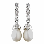 Antique Rhodium Silver Freshwater Pearl Earrings 8900