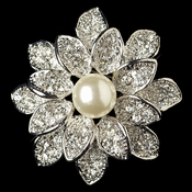 Antique Rhodium Silver Ivory Pearl Brooch 234