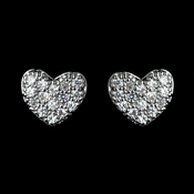Antique Rhodium Silver Petite Pave Heart Children's Earrings 7776
