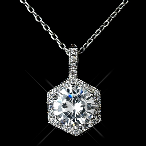 Antique Rhodium Silver Round Pave CZ Crystal Drop Pendent Necklace 7720 & Solataire Leverback Earrings 7798 Jewelry Set