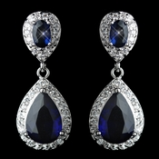 Antique Rhodium Silver Sapphire Drop CZ Crystal Earrings 7761