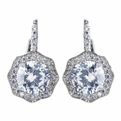 Antique Rhodium Silver Solitaire Encrusted CZ Leverback Earrings 7798