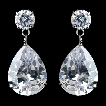 Antique Rhodium Silver Solitaire With Teardrop Dangle Earrings 7770